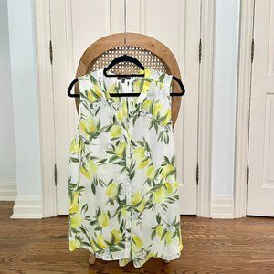 NYDJ Sleeveless Pintuck Blouse Lemon Print Large